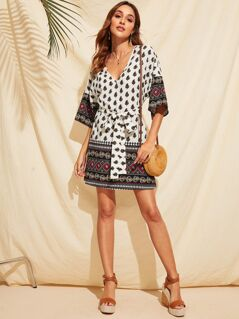 Tribal Print V-neck Self Belted Dress