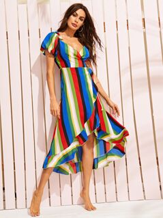 Puff Sleeve Tie Side Striped Wrap Asymmetrical Dress