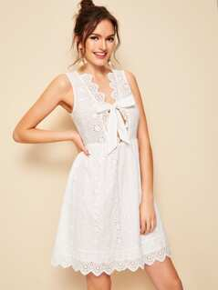 Plunging Knot Tie Front Scallop Trim Schiffy Dress