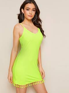 Neon Lime Tassel Hem Solid Cami Dress