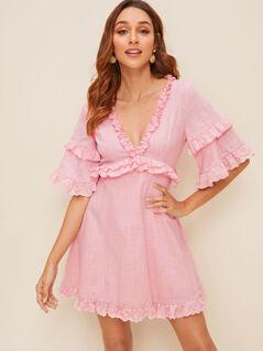 Plunge Neck Bell Sleeve Frilled Dress