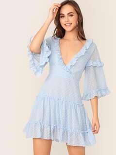 Surplice Neck Ruffle Trim Layered Swiss Dot Dress