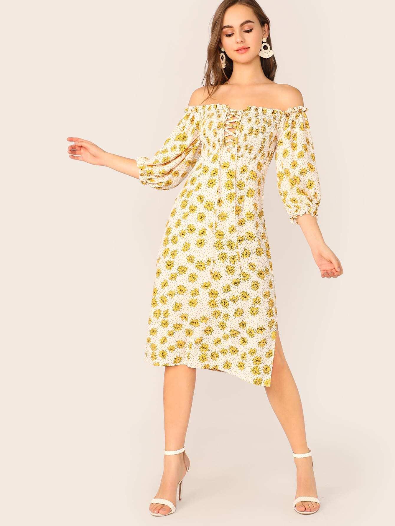 Фото - Цветочное платье на шнуровке с разрезом от SheIn цвет многоцветный