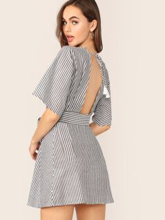 Tassel Tie Cutout Back Belted Striped Dress