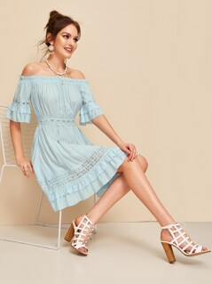 Lace Insert Layered Ruffle Bardot Dress