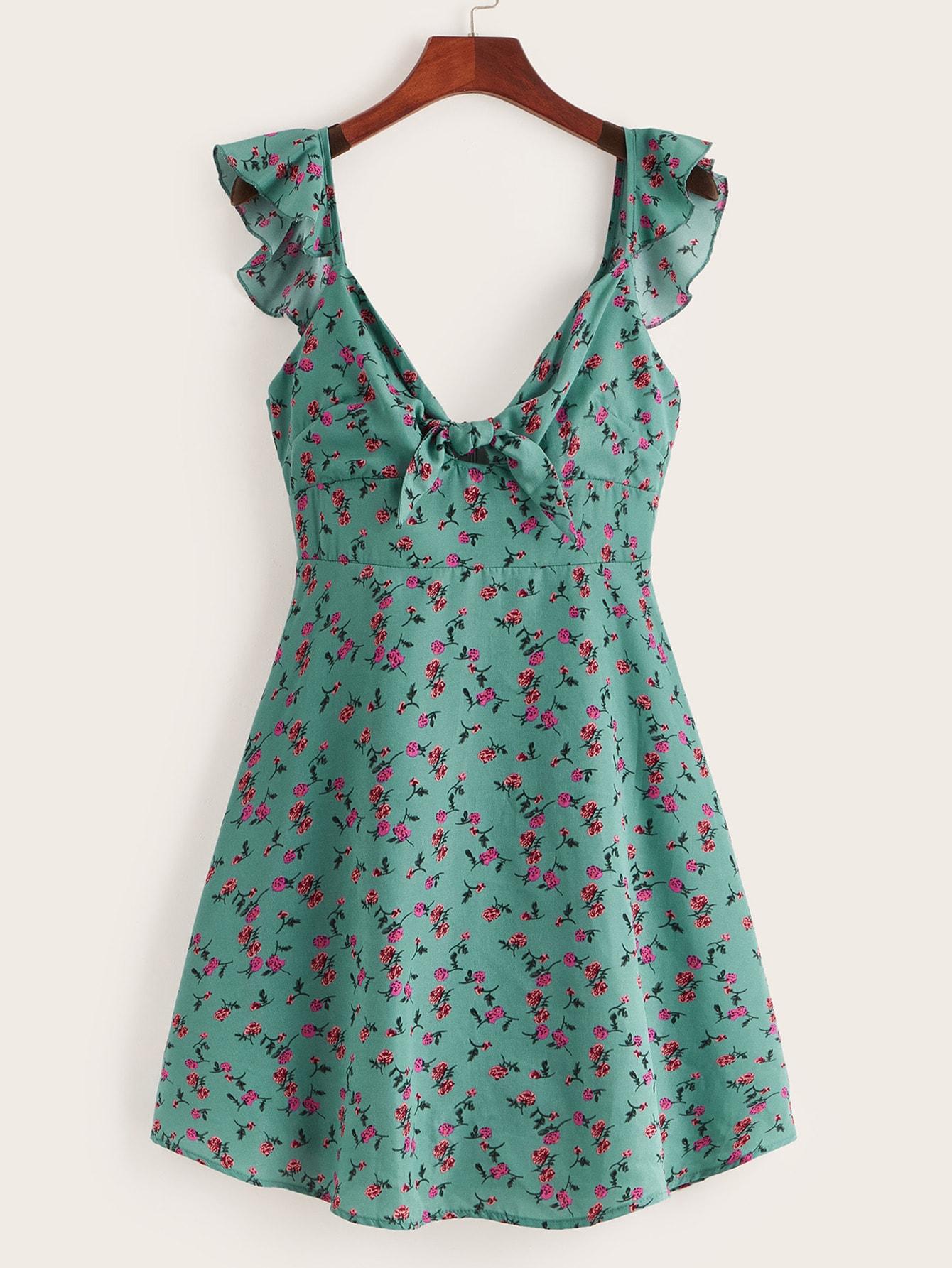 Фото - Цветочное платье с оборками и узлом от SheIn цвет зелёные