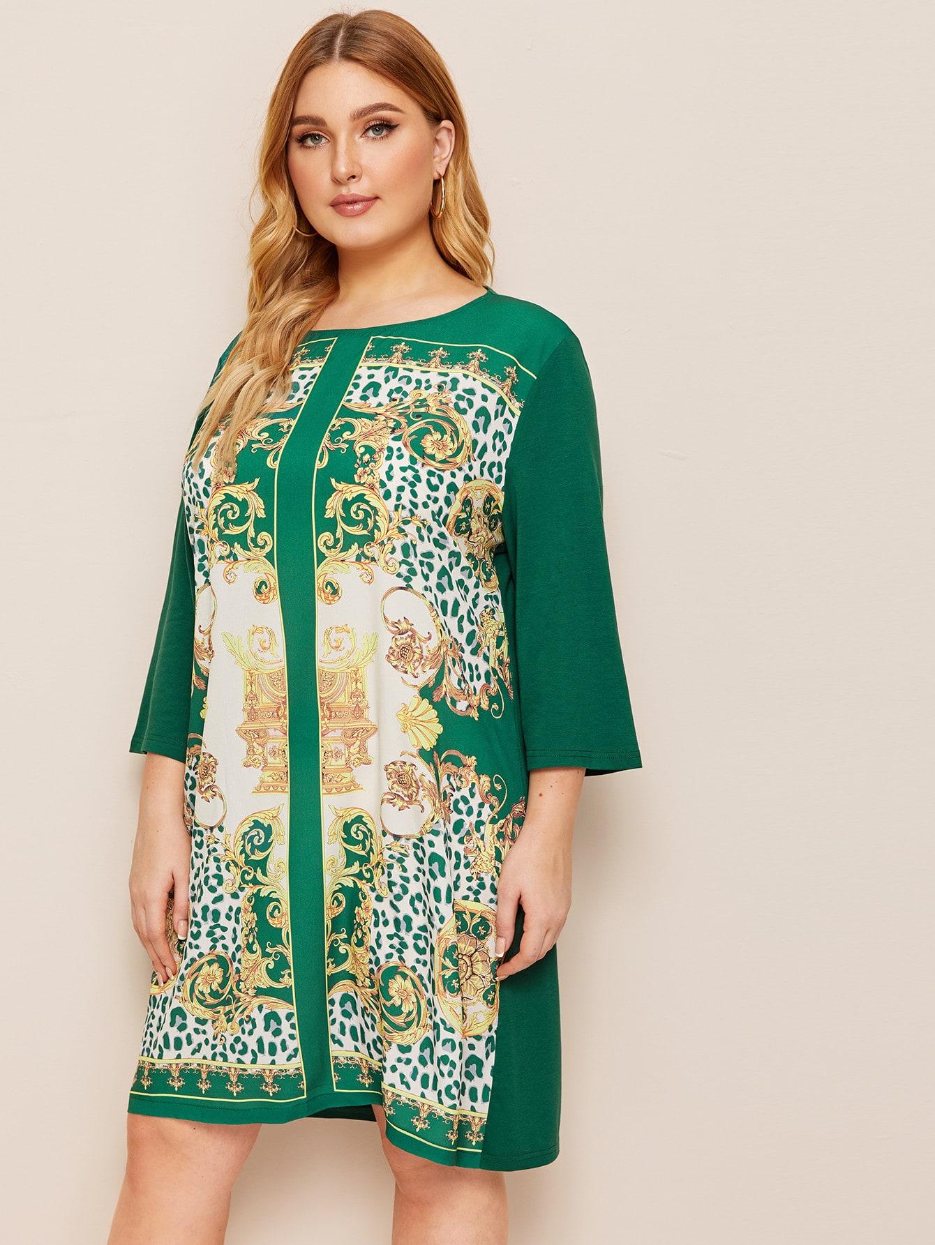 Фото - Платье с оригинальным принтом размера плюс от SheIn цвет зелёные