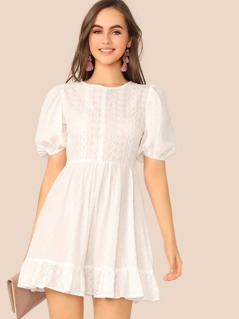 Schiffy Puff Sleeve Ruffle Hem Flare Dress