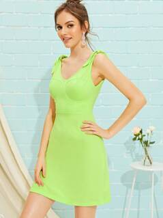 Neon Lime Knot Strap Bustier Dress