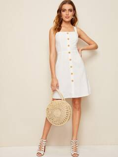 Single Button Front Crisscross Back Dress