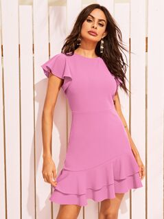 Flutter Sleeve Ruffle Hem Dress