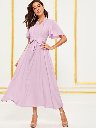 29ac0aeab025e فستان مثني بأكمام مرفرف وأزرار أمامية مغلف