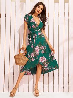 Deep V-neck Petal Sleeve Belted Wrap Dress