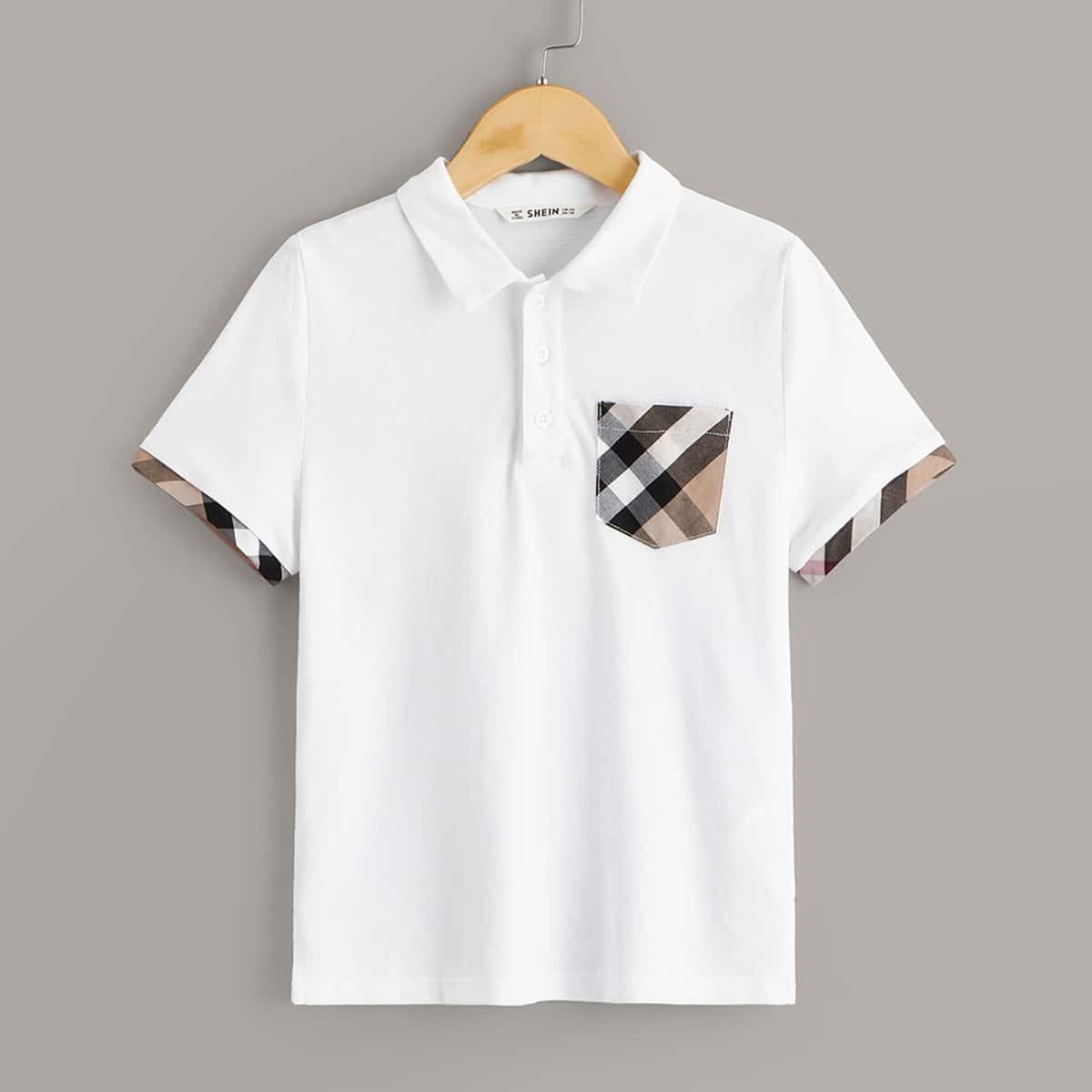 Рубашка-поло с карманом в клетку для мальчиков от SHEIN