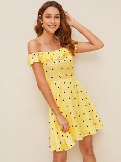Polka Dot Shirred Back Ruffle Bardot Flare Dress