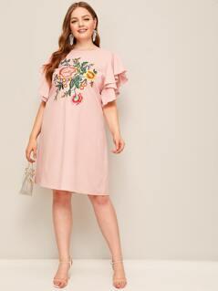 Plus Flutter Sleeve Embroidered Botanical Tunic Dress