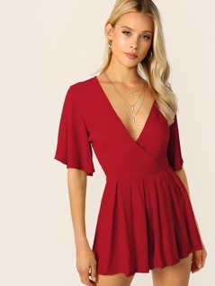Wrap Plunge Neck Box Pleated Belted Romper
