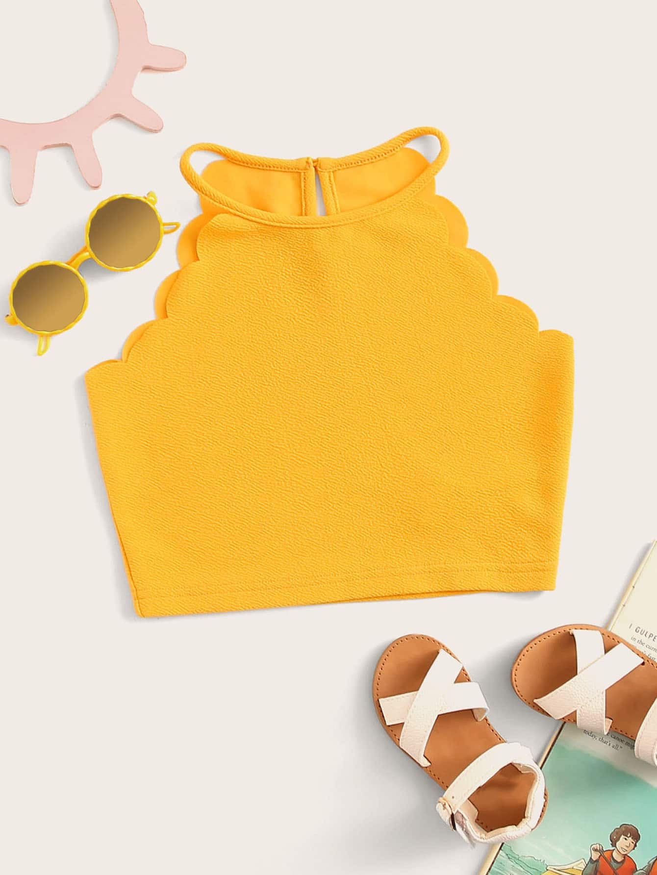 Фото - Топ-халтер с фестончатым краем для девочек от SheIn цвет жёлтый