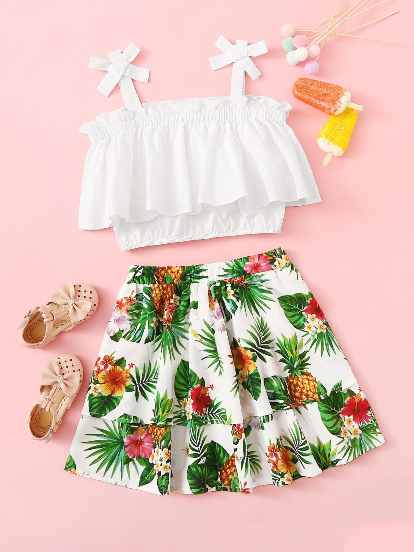 Фото - Топ с бантом и юбка с тропическим принтом для девочек от SheIn цвет многоцветный