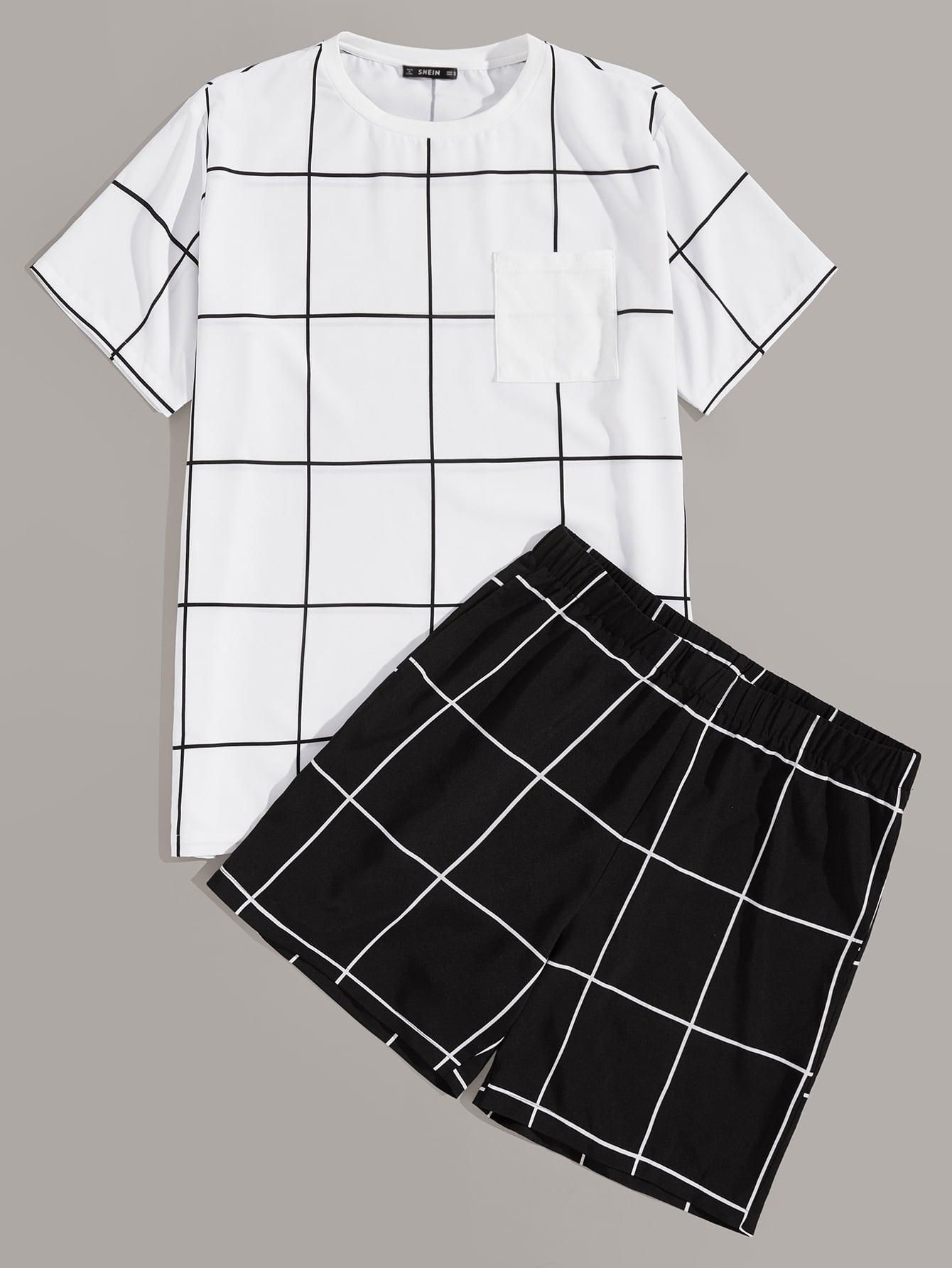 Фото - Мужской топ в клетку с карманом и шорты от SheIn цвет чёрнобелые