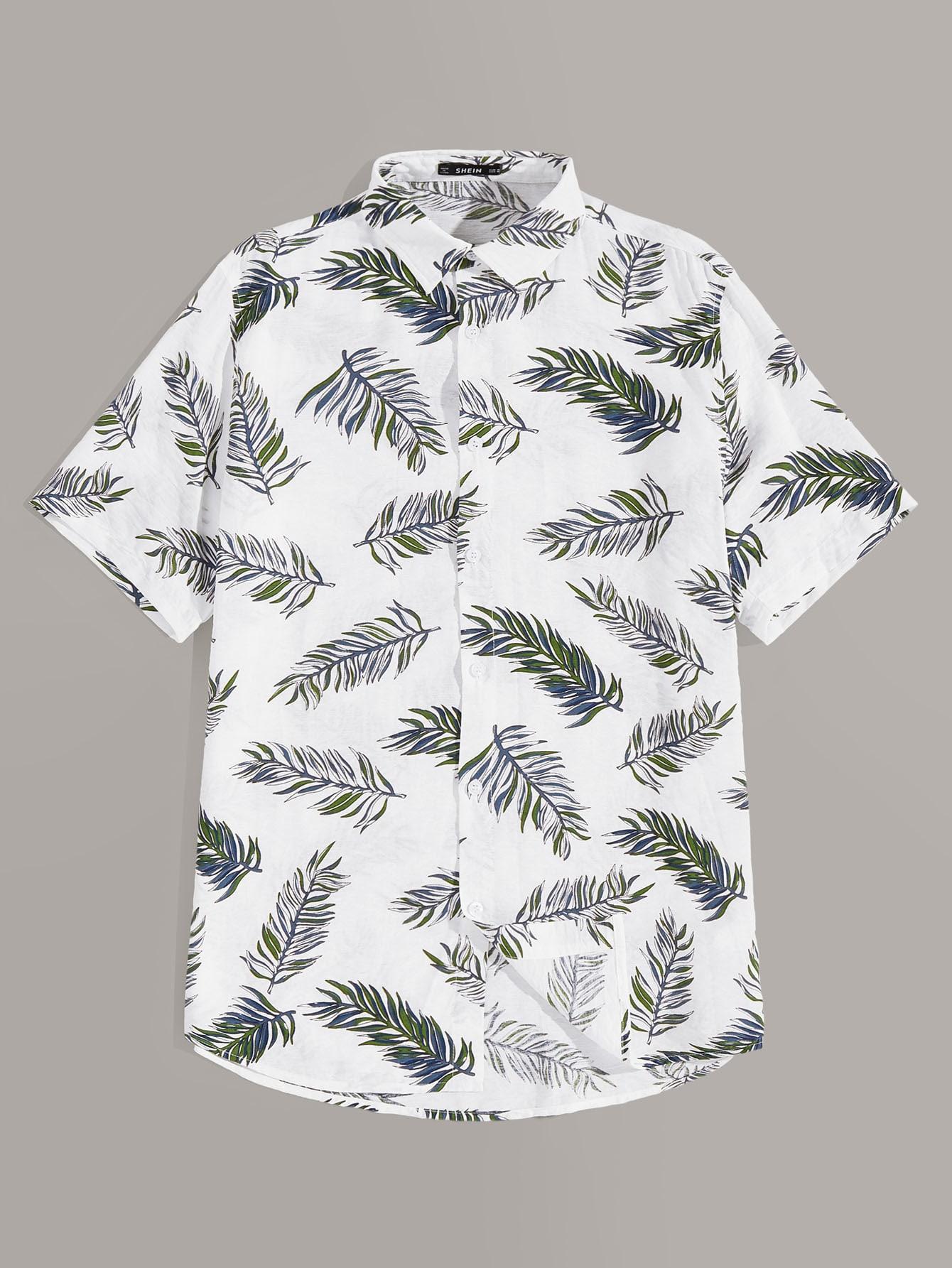 Фото - Мужская рубашка с принтом от SheIn белого цвета