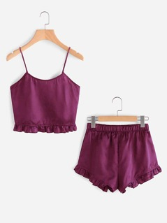Ruffle Hem Cami Top and Ruffle Hem PJ Set
