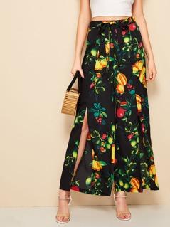 Fruit Print Split Hem Wide Leg Pants
