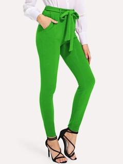 Neon Green Slant Pocket Belted Pants