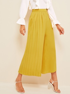 Wide Band Waist Pleated Panel Culottes Pants