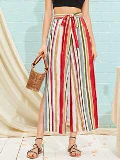Split Side Belted Colorful Striped Wide Leg Pants