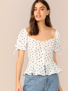 Button Through Shirred Heart Print Peplum Top