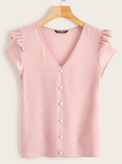 V-neck Ruffle Detail Button Front Blouse