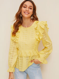 Ruffle Trim Embroidered Eyelet Top
