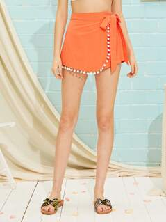 Neon Orange Tie Side Pompom Skort