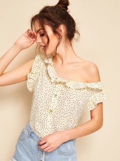 Asymmetrical Neck Ruffle Trim Confetti Heart Print Shirt