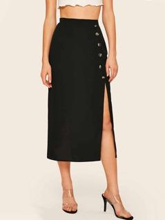 Single Breasted Split Side Skirt
