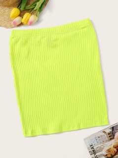 Neon Lime Rib-knit Bodycon Skirt