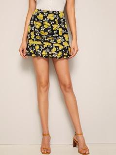 Floral Print Ruffle Hem Bodycon Skirt