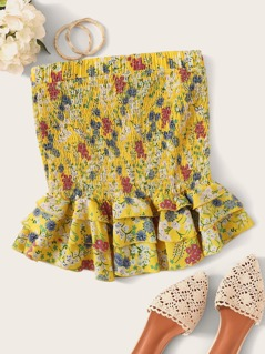 Shirred Layered Ruffle Hem Ditsy Floral Skirt