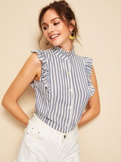 Ruffle Detail Button Up Striped Blouse