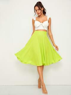 Neon Lime Wide Waistband Flare Skirt