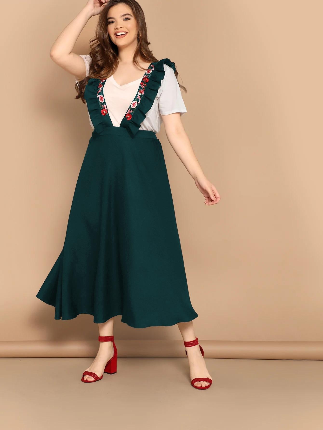 Фото - Расклешенная юбка размера плюс с вышивкой и оборкой от SheIn цвет зелёные