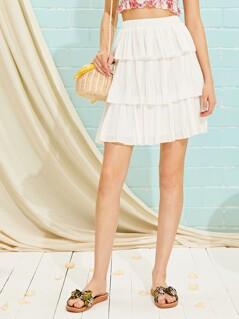 Layered Ruffle Hem Plisse Skirt