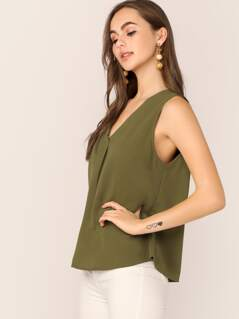 V-neck Sleeveless Flowy Top