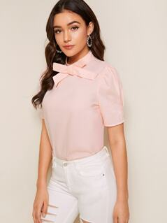 Bow Tie Neck Puff Sleeve Top