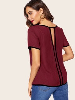 Contrast Piping Trim Cutout Back Blouse