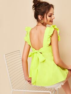 Neon Lime Ruffle Trim Tie Back Smock Top