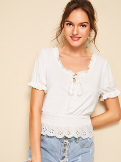 Frill Trim Eyelet Embroidered Shirred Top