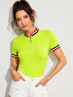Neon Lime Contrast Trim O-Ring Zip Half Placket Tee