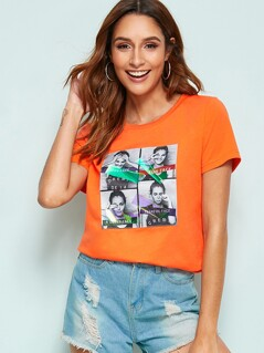 Neon Orange Figure Print Top